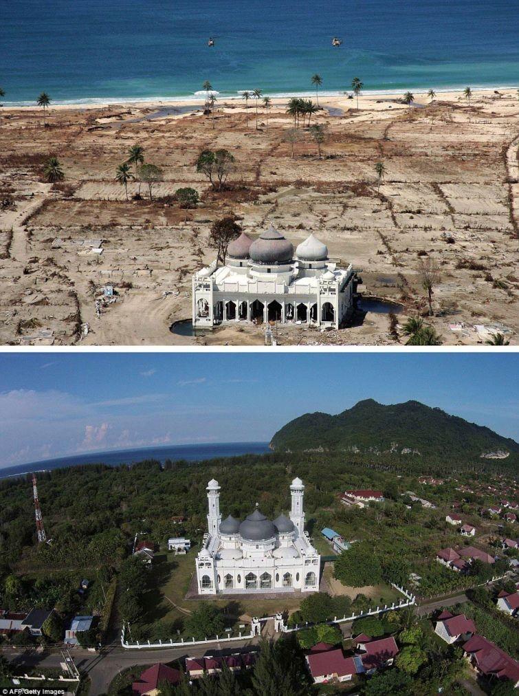 zunami13 10 лет спустя: сравниваем фотографии восстановления Индонезии