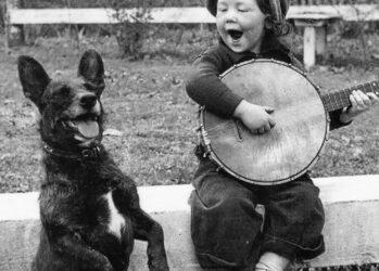 14. Девочка играет для своей собаки.