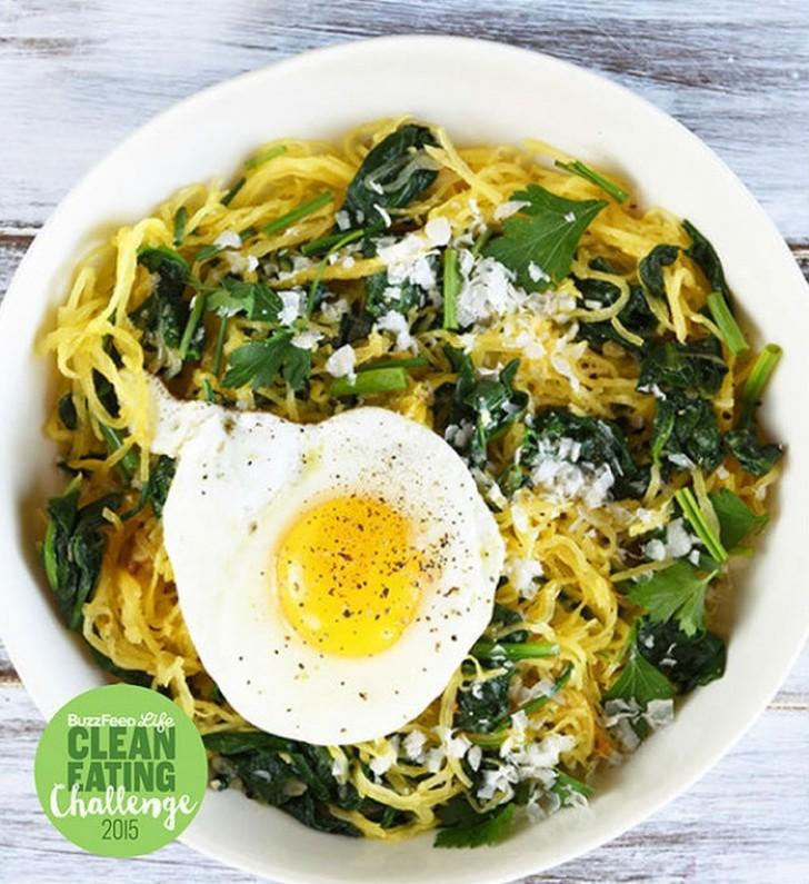 Спагетти со шпинатом, тыквой сквош