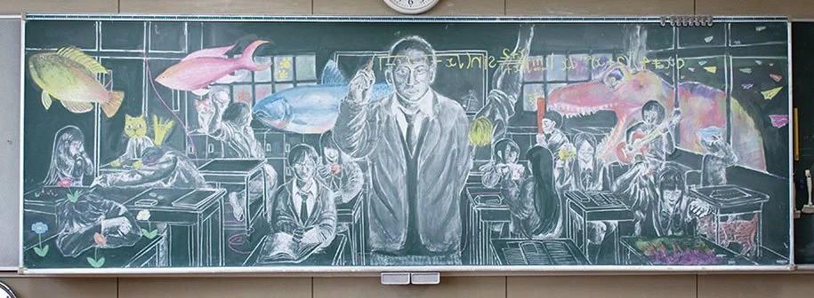 Шедевры, которые рисуют японские дети на школьных досках. Фото