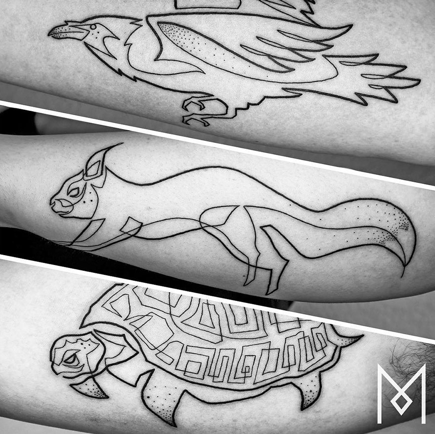 Суперкрасивые татуировки, нарисованные в одну линию
