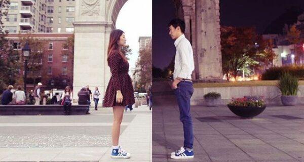 Пара, состоящая в отношениях на расстоянии, создает крутые снимки, где они вместе