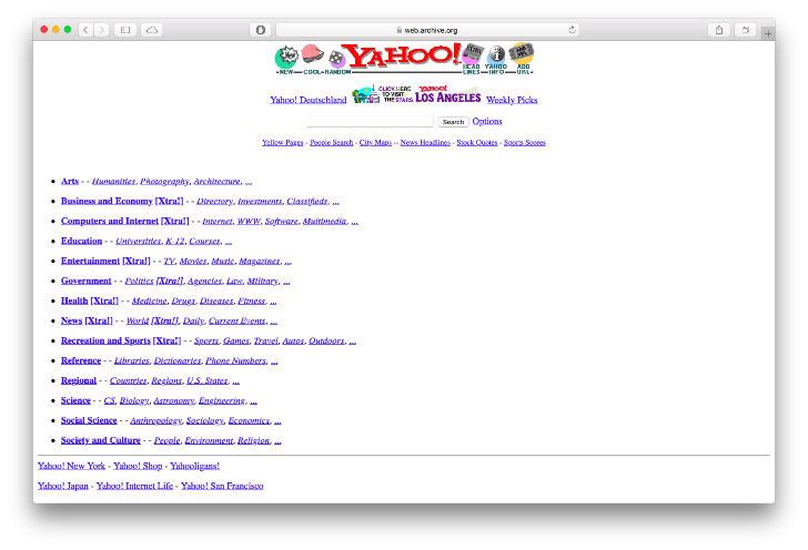 В 1994 году был создан веб-сайт, который назывался «Путеводитель Джерри по  Всемирной паутине». Впоследствии сайт был переименован в «Yahoo!». b8b406e36e2
