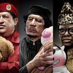 Портреты мировых диктаторов, обнимающих мягкие игрушки