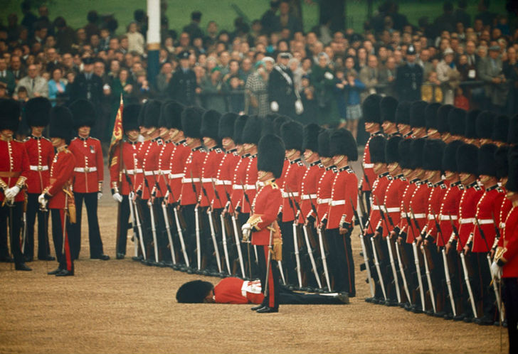 Irish Guards Remain At Attention After One Guardsman Faints In London England June 1966