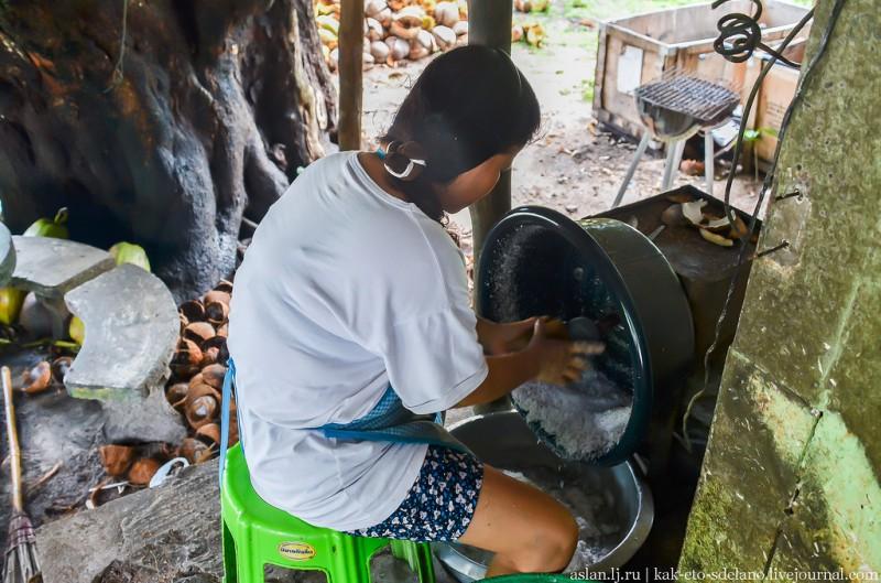 Половинка ореха выскабливается примерно за полминуты. Принцип работы аппарата похож на соковыжималку.