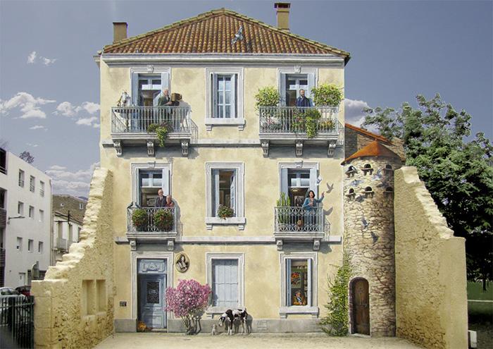 Художник превращает унылые фасады в яркие сцены, полные жизни