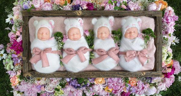 Фотосессия очень редких и абсолютно идентичных четверняшек