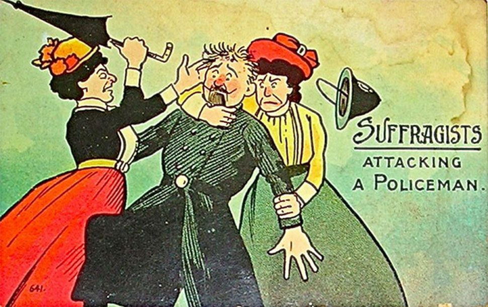 Ретро-открытки, показывающие страх общества перед расширением прав женщин