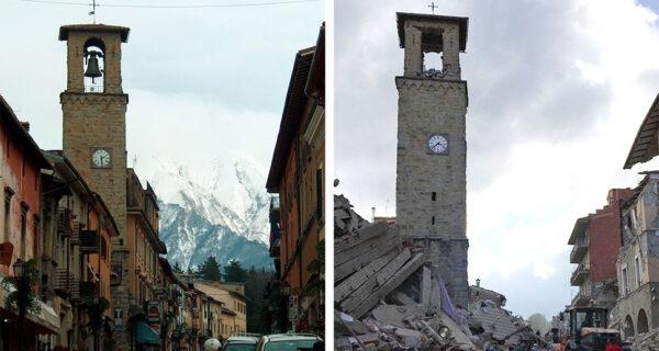 Землетрясение в Италии: снимки до и после разрушений