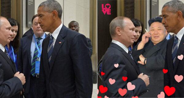 Уничтожающий взгляд Обамы на Путина оказался в центре битвы фотожаб