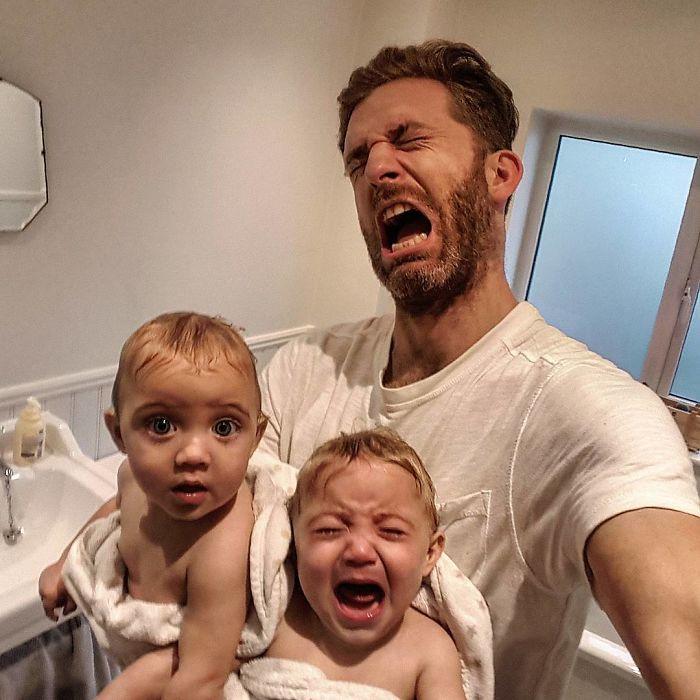Папа с ребенком смешные картинки, счастливая
