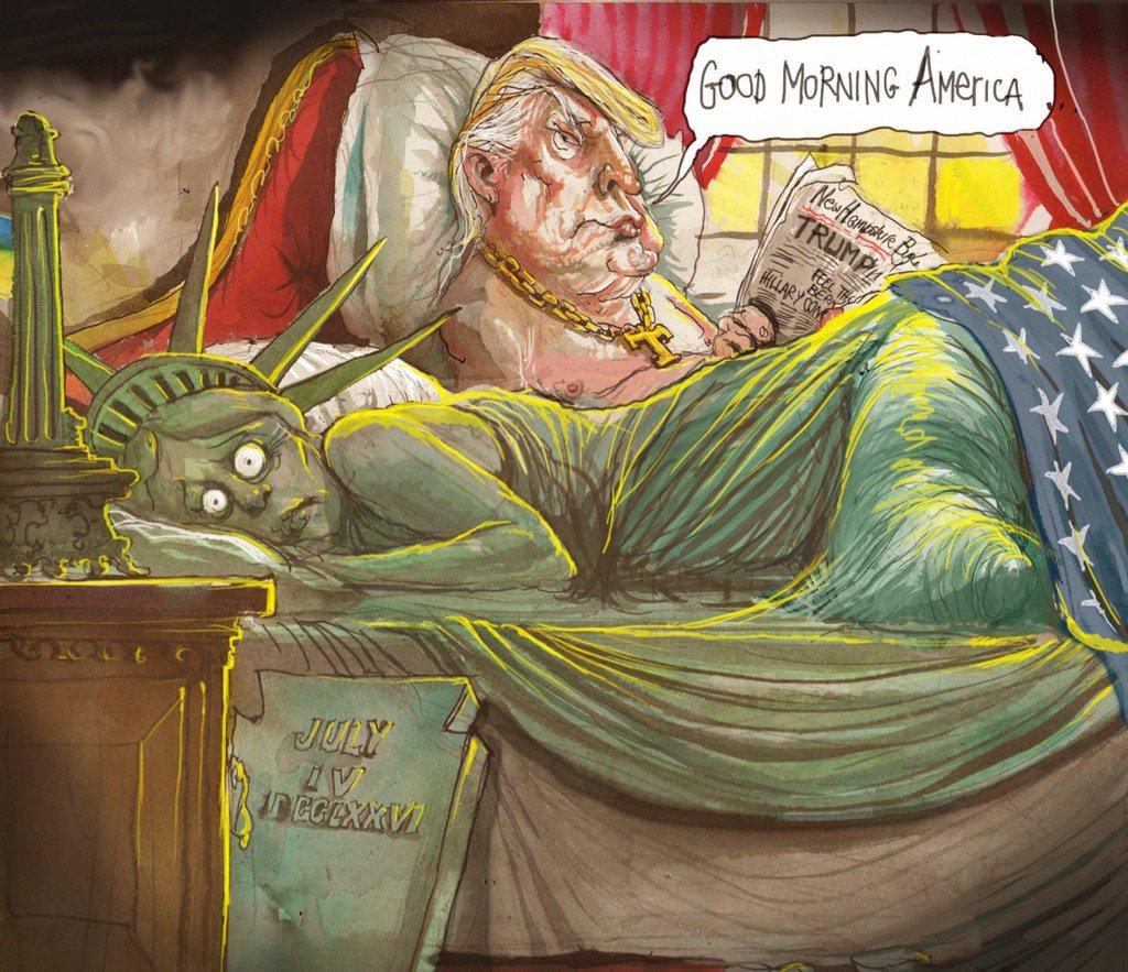 Не успел Дональд Трамп избраться президентом, как подоспели политические карикатуры