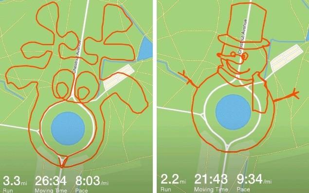 Как нарисовать картинки к Рождеству, бегая с GPS-трекером