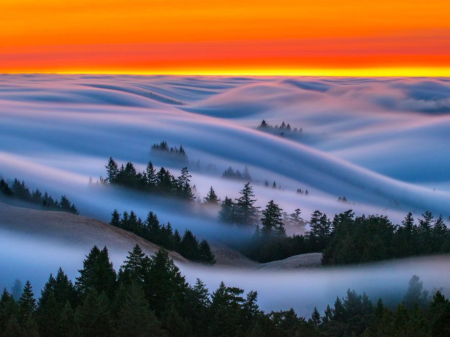 Нереально красивые фотографии волн... тумана