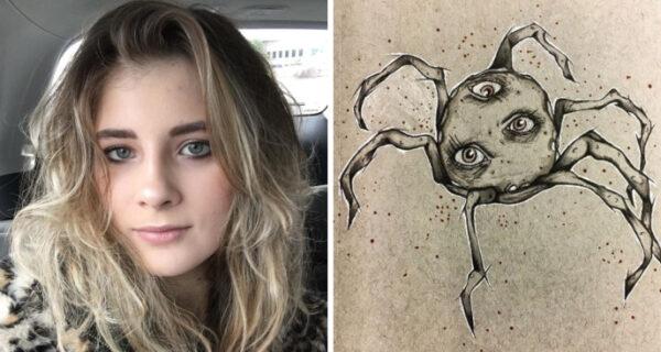 Девушке в 17 лет поставили диагноз «шизофрения», и вот как она рисует свои галлюцинации