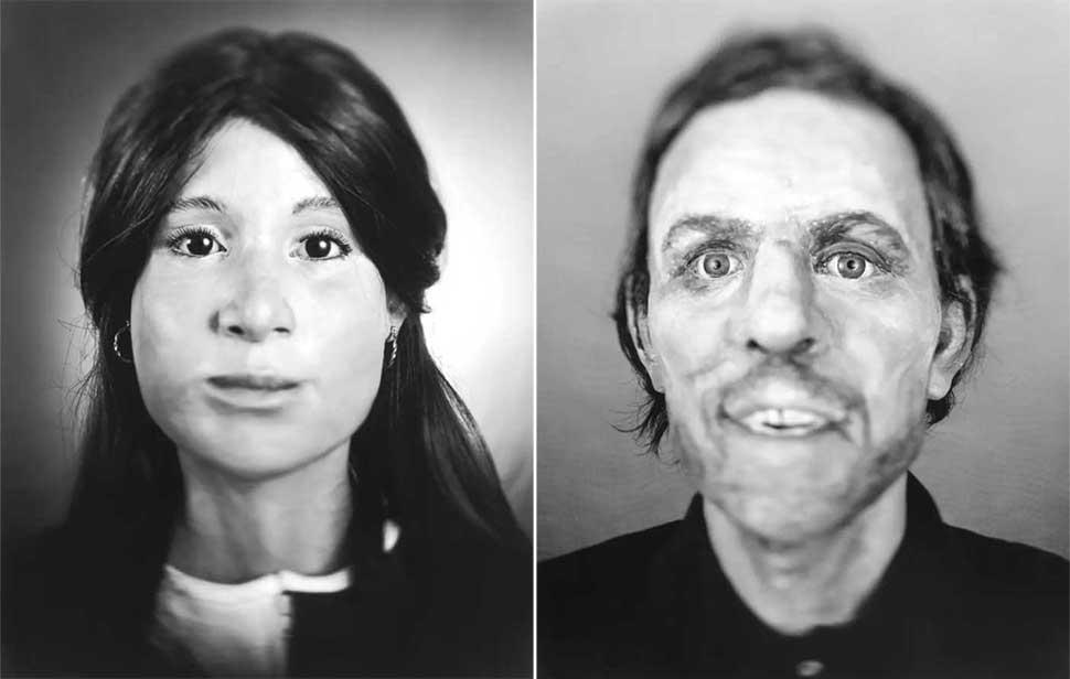 Фотограф снимает реконструированные лица неопознанных жертв убийств