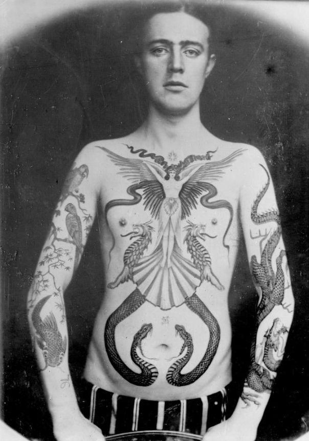 Роскошные татуировки Викторианской эпохи: Херувимы, драконы игербы