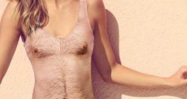 Ничего особенного, просто женский купальник с принтом мужской волосатой груди