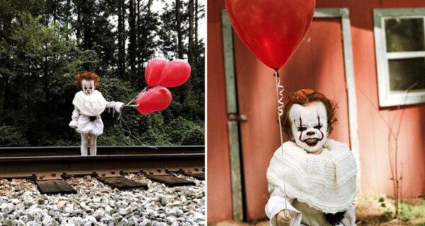Стивен Кинг перекрестился: трехлетний мальчик косплеит клоуна-убийцу из фильма «Оно»