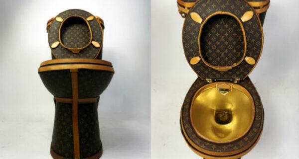 В США за 100 тысяч долларов продается золотой унитаз, обтянутый сумками Louis Vuitton