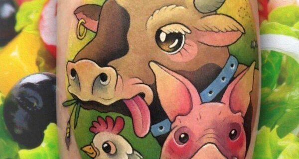 «Ешь салат — не зли ребят»: какими татуировками покрывают себя веганы