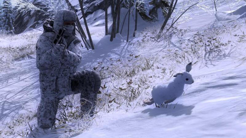 Охотник и заяц зимой