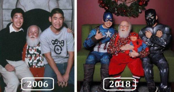 Фото с Сантой из года в год: друзья фотографируются в разных образах с2006