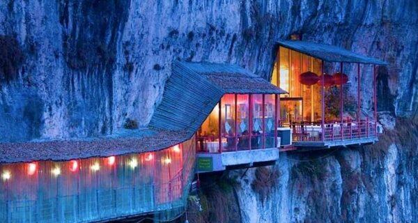 Удивительный висячий ресторан вКитае