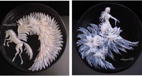 Кулинарная живопись на тарелках: японский шеф-повар превращает рыбную нарезку в настоящие шедевры
