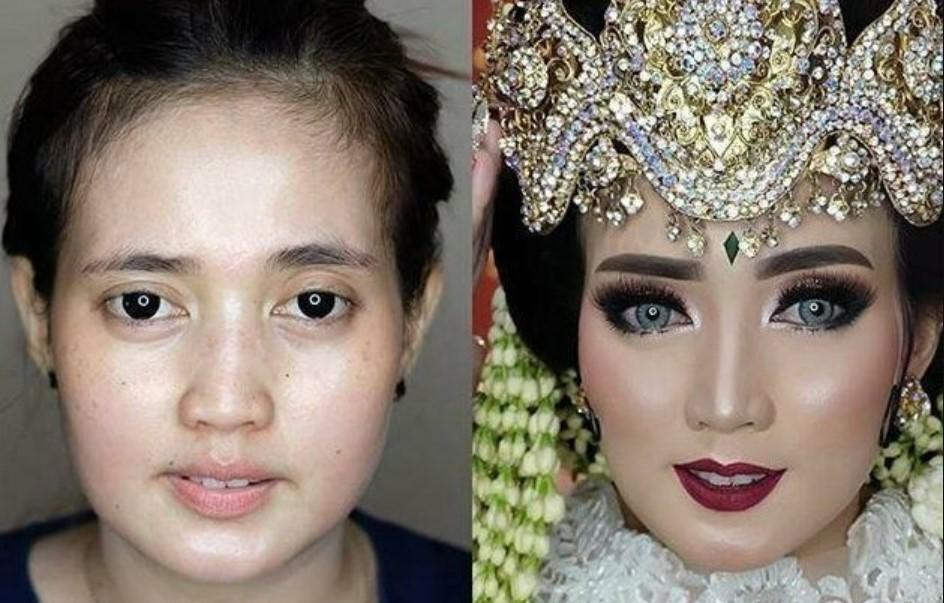 Чудеса свадебного макияжа: азиатские невесты до и после мейкапа выглядят, как разные люди фото