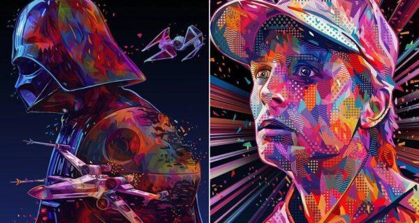 Красочные абстрактные портреты звезд в стиле поп-арт