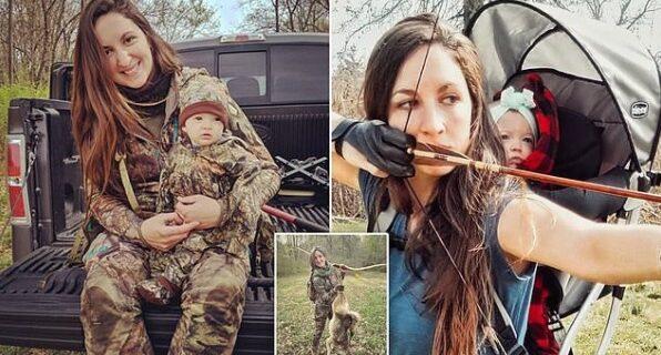 Основной инстинкт: мать ходит на охоту вместе с 9‑месячной малышкой за спиной