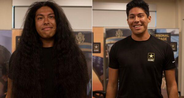 Не узнать! Новобранец подстригся впервые за 15 лет ради армейской службы