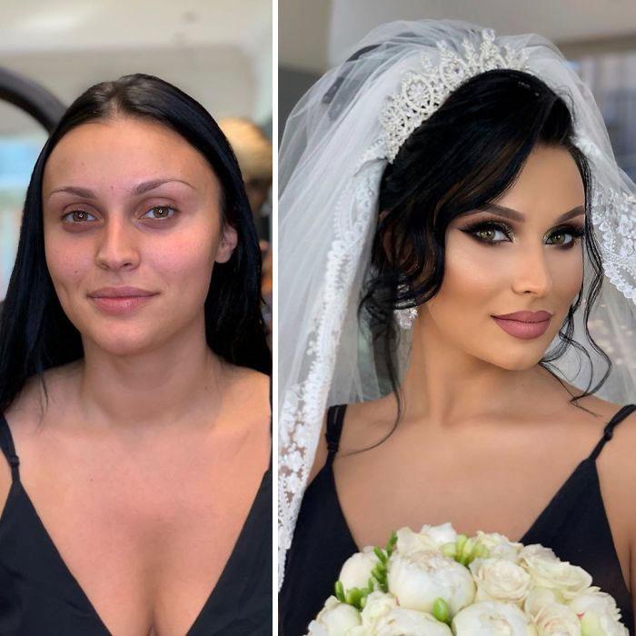 23 фото удивительных преображений невест после свадебного макияжа