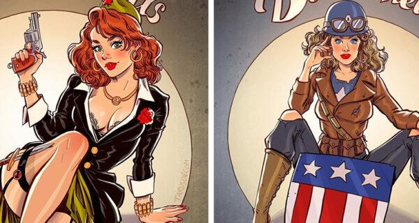 Русский пинап от Андрея Тарусова: такими героев вселенной Marvel вы еще не видели