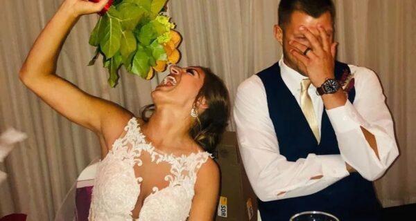 Пока фастфуд не разлучит нас: невеста получила свадебный букет из наггетсов и с аппетитом его слопала