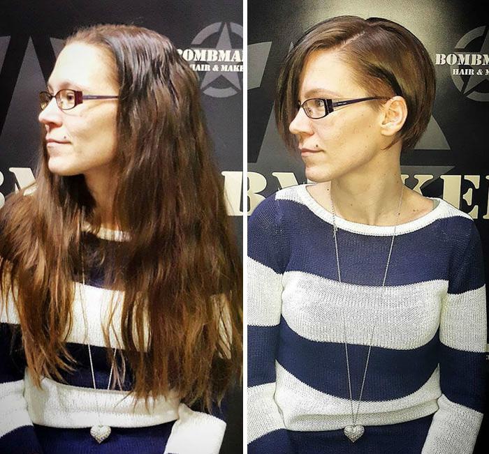 21 41 - 20 фото людей «до и после» того, как они обрезали свои длинные волосы