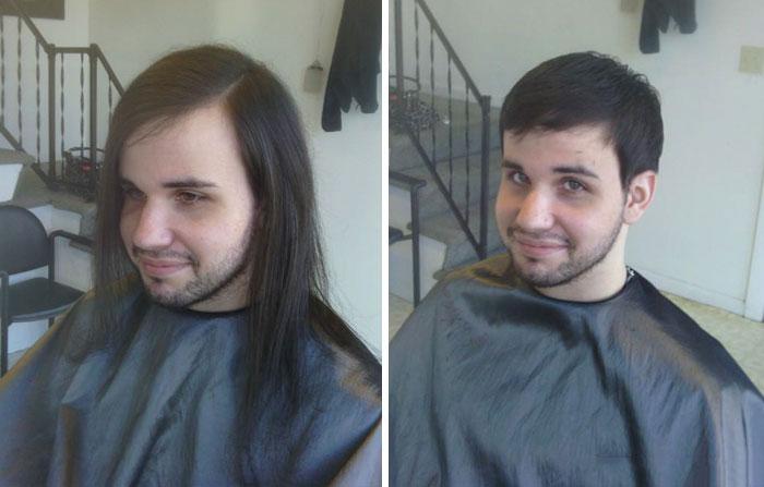 chico cabello corto - 20 фото людей «до и после» того, как они обрезали свои длинные волосы