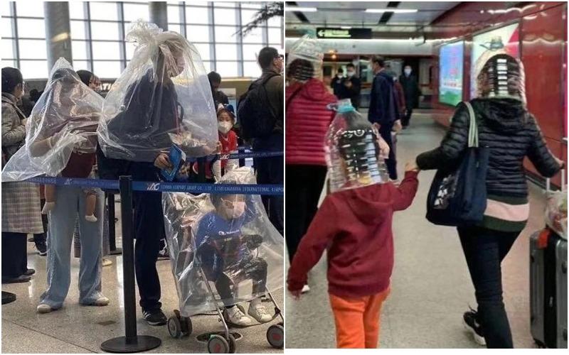 Напуганные пассажиры надевают на головы пакеты и пластиковые ...