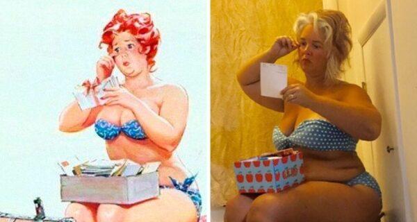 Роскошная Хильда в современной трактовке: женщина воссоздала образы известной пин-ап толстушки из 50‑х