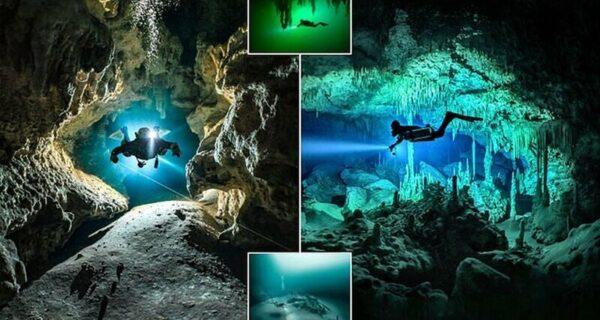 Дайвер рискует жизнью, делая потрясающие снимки подводных пещер в Мексике