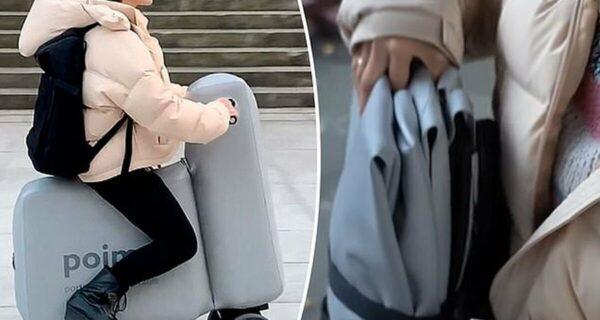 В Японии создали надувной электроскутер, который легко помещается в рюкзак