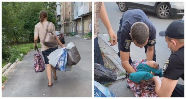 В Киеве многодетная горе-мать несла новорожденного в сумке по жаре и пела колыбельную