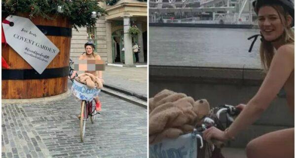 Зачем эта британка голышом прокатилась на велосипеде по Лондону