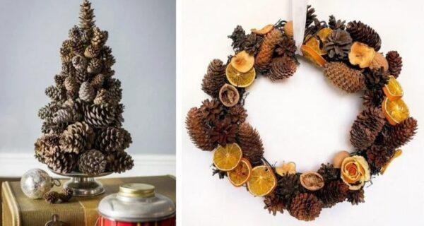 Крутые идеи новогоднего декора из шишек иветок