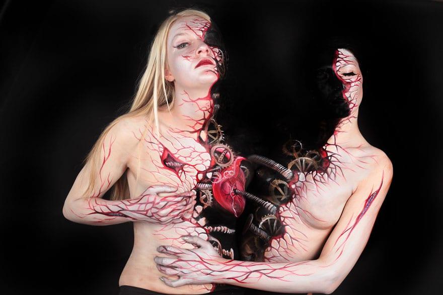 Человеческое тело вместо холста: удивительный бодиарт Гезин Марведель