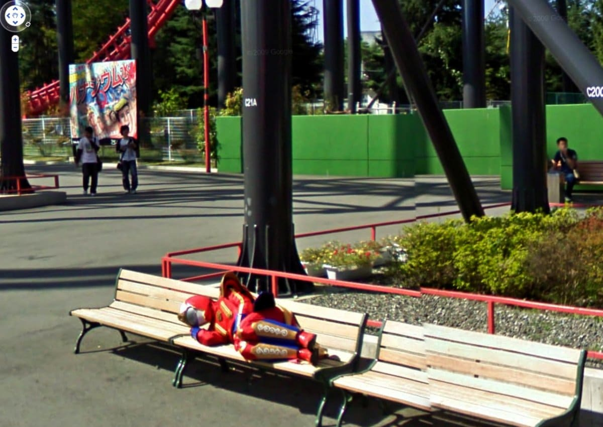 Bigpicture ru the street view images feature many interesting characters heres a superhero who needed a nap