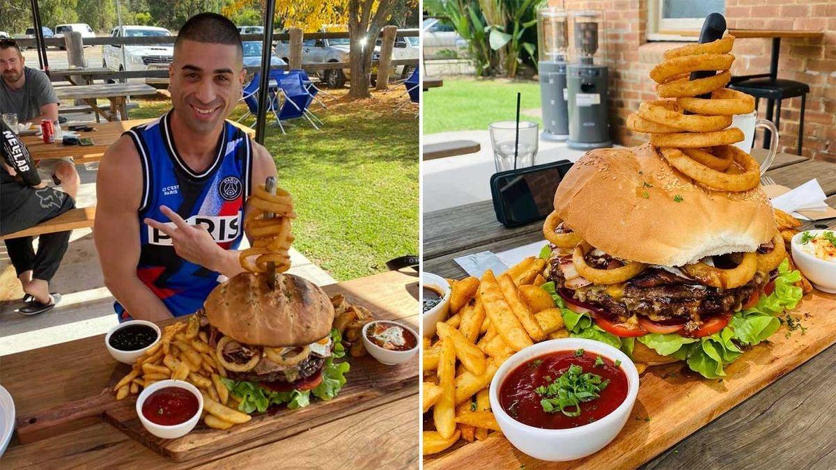 Австралиец побил рекорд, съев 5‑килограммовый бургер за полчаса и закусив его десертом