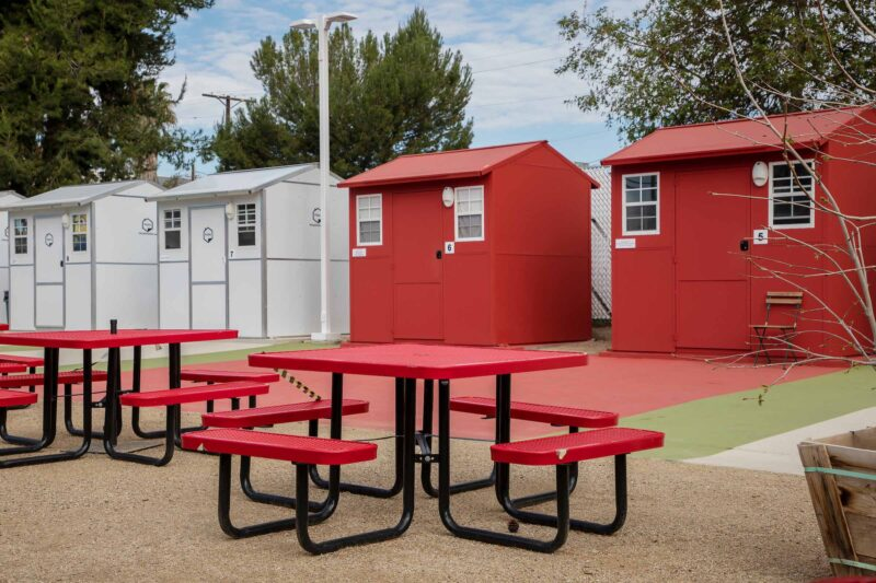 Los angeles. tiny homes villages for the homeless.